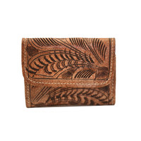 Tooled Flap Leather Wallet - Mushroom