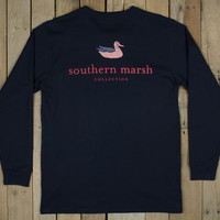 Southern Marsh Authentic Flag Long Sleeve Tee- Navy