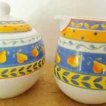 Furio Pottery Sugar Bowl and Creamer Set