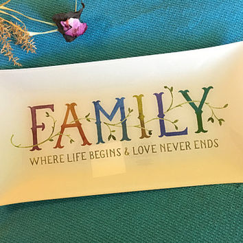 FAMILY Decorative Tray Vintage Fringe Studio Glass Platter Transfer Ware Rectangular Plate With Family Themed Quote Kitchen Dining Den Decor