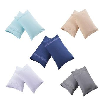1 Pair White/Blue/Deep Blue/Apricot/Gray Bed Pillow Case Soft Pillowcase Couple Pillow Cover Gift For Him or Her Queen King Size