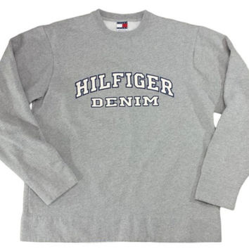 90s Hilfiger Denim Sweatshirt Vintage Tommy Crewneck Embroidered Spell Out Jumper Gray Vtg Pullover Streetwear Hip Hop Clothing