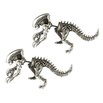 docona  Punk Alien Shape Stud Earring for Women Sliver Black Alloy Stud Earrings Push-back Animal Earring Brincos 4690