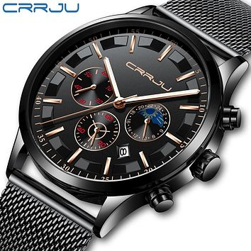 CRRJU Men Stainless Steel Mesh Quartz Watch Waterproof Watch Multi-function Chronograph