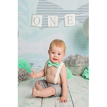 Printed Teal Bowtie Pattern Photo Backdrop - 7500