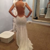 Ivory low back wedding gown lace mermaid wedding  dress backless prom dress wedding party dress