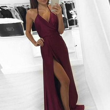 A Line V Neck Maroon/Burgundy Long Prom Dress with Slit, Maroon/Burgundy Formal Dress