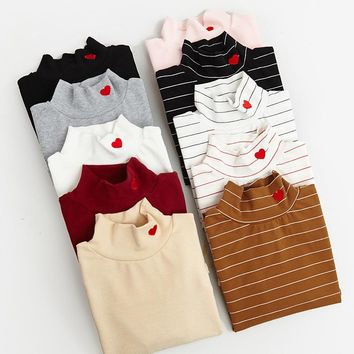 Harajuku Long Sleeve Turtleneck Shirts