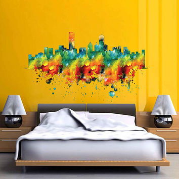 kcik1898 Full Color Wall decal Watercolor Houston city Skyline living room bedroom