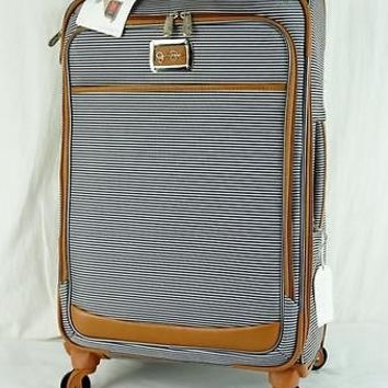 "JESSICA SIMPSON BRETON COLLECTION 25"" NAVY STRIPE UPRIGHT SPINNER SUITCASE  7472"