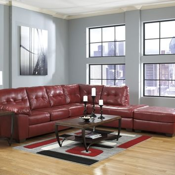 Ashley Furniture 20100-66-17 2 pc alliston collection salsa bonded leather upholstered sectional sofa with chaise
