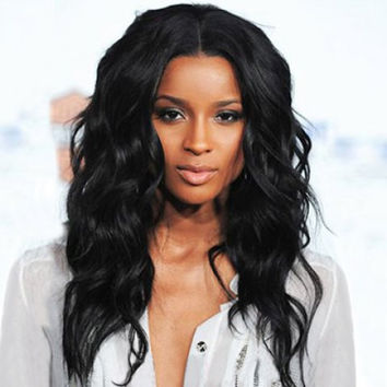 Charming Long Centre Parting Synthetic Vogue Shaggy Wavy Black Capless