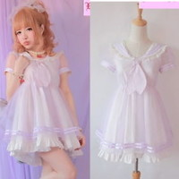 Girls Princess Dolly Lolita Kawaii Party Sweet crew neck Dress + Tie Purple S~L