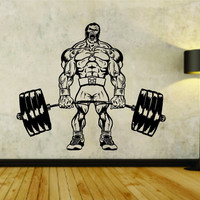 Man Lifting Weights Version 101 Weight Bar Powerlifter Fitness Gym Weightlifter