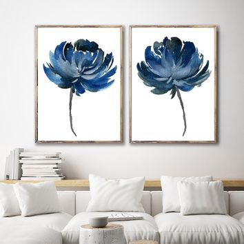 WATERCOLOR FLOWER Wall Art, Watercolor Floral Bedroom Wall Decor, Navy Floral Minimalist Artwork Set of 2 Floral Canvas or Prints Pictures