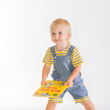 Shorts overall, Boys outfit, boys clothing set, boys shorts overall, Jeans shorts overall, denim shorts, toddler summer outfit, yellow