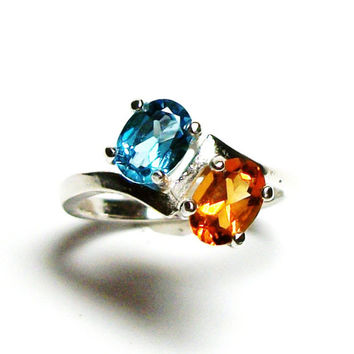 "Madeira citrine,  citrine topaz ring, 2 stone ring, birthstone ring, sweetheart ring, orange blue ring, s 6 3/4     ""In Tandem"""