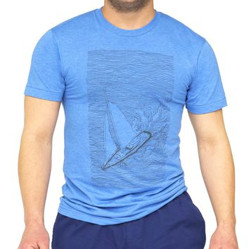 Light Blue Illustrated Sailboat & Waves Tee