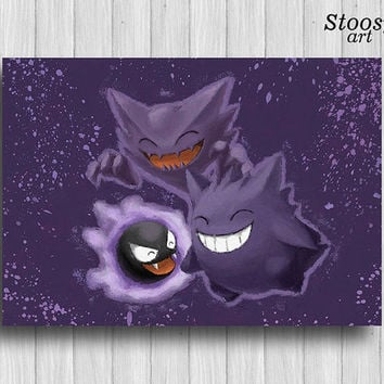 Ghost Pokemon poster Gastly  Haunter  Gengar pokemon gifts manga anime