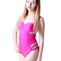Hot Pink Bustier Strappy One-Piece