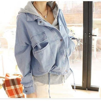 Boyfriend Style 2015 Autumn Spring Women Loose Denim Jacket Jaqueta Real Two Piece Fashion Batwing Sleeve Jeans Coat = 1929790916