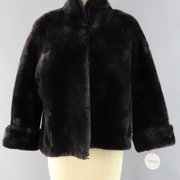 Vintage 1950s Sheared Lamb Mouton Fur Jacket