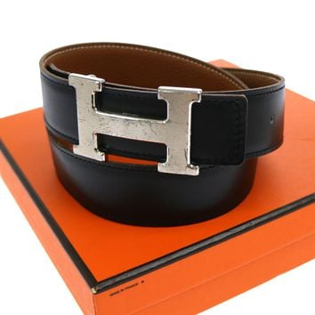Authentic HERMES Vintage H Logos Buckle Constance Reversible Belt Black JT04708