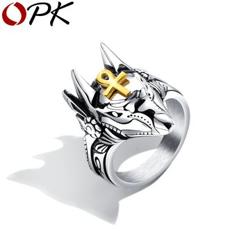 In My Kingdom! Anubis Egyptian Ring For Men Stainless Steel Ankh Design Jewelry Gift