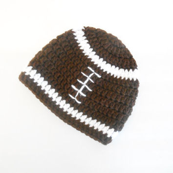 Crochet Baby Football Beanie - Crochet Newborn Football Beanie - Crochet Baby Football Hat -  - Baby Shower Gift for Boys - Football Hat