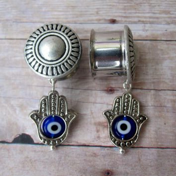 "Pair of Antique Silver Plugs with Hamsa Hand & Blue Evil Eye Charms - 6g, 4g, 2g, 0g, 00g, 7/16"", 1/2"", 9/16"", 5/8"", 3/4"" or Post Earrings"