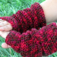 Red Hand Warmers, Long Crochet Arm Warmers, Slouchy Fingerless Gloves, Gauntlets, Mittens, Women's Wrist Warmers