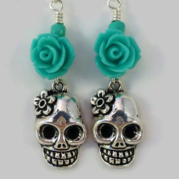 Turquoise and Silver Skull Earrings - Skull Earrings with Turquoise Rose - Day of the Dead Earrings - Horror Theme Earrings - Halloween