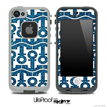 White and Blue Sparkle Anchor Collage Skin for the iPhone 5 or 4/4s LifeProof Case