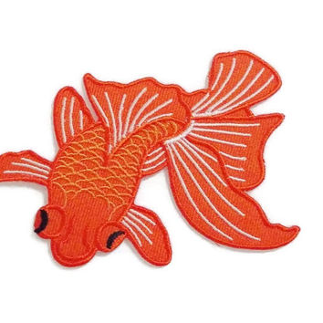 Goldfish Beautiful Charm - Fish Patches - Animal Print New Sew on / Iron On Patch Embroidered Applique Size 9.5cm.x6.4cm.