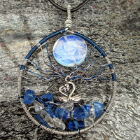 Wire Wrapped Swan Lake Blue Glass Chips Crystal Quartz and Moonstone Bead Tree Of Life OOAK