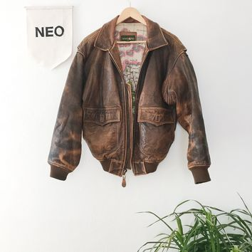 vintage leather pilot jacket