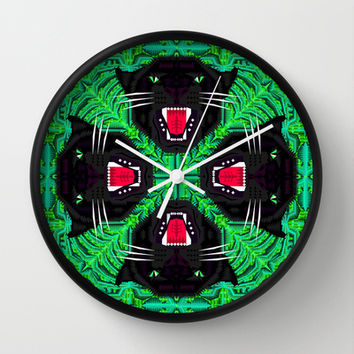 Tropical Gothic Pattern Wall Clock by chobopop