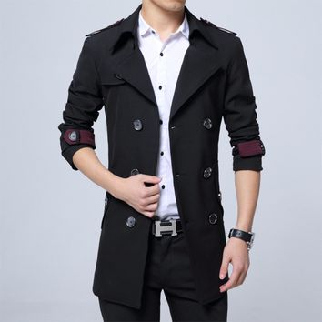 Mens Military Style Trench Coat in Black
