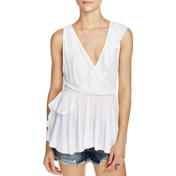 Free People Womens Float Away Textured Surplice Blouse