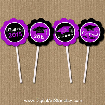 INSTANT DOWNLOAD Graduation Cupcake Toppers - DIY Printable 2 inch Party Circles - Class of 2015 - Purple Black Graduation Cupcake Picks