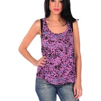 Lucca Couture Printed Criss Cross Back Tank