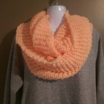 Creamsicle Infinity Scarf, Womens Warm Knitted Infinity Scarf, Pink Infinity Scarf, Orange Chunky Infinity Scarf,