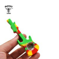 HORNET Electric Guitar FDA Silicone Smoking Pipe 107 MM With Glass Bowl Silicone Tobacco Pipe Unbreakable Silicone Pipe
