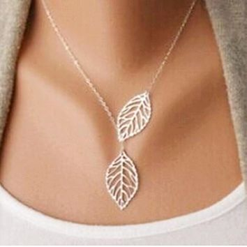 Women's Two Leaf Statement Necklace & Pendent