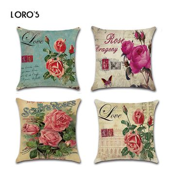 Pillows Case Cover Cotton Linen Cushion Cases Woven Retro Vintage Rose Flowers PillowCases Bedroom Home Chair Office Decorative