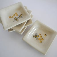 Small Ceramic Serving Dish  - Handpainted Honey Bees in Orange and Black