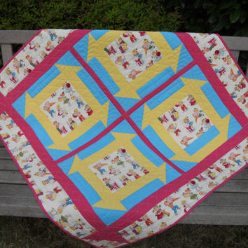Baby Quilt Vintage Theme Red Yellow Turquoise Churn Dash Boy or Girl