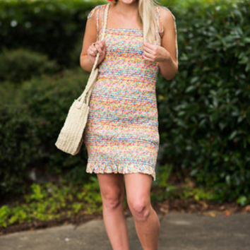 Somewhere Over The Rainbow Dress, Yellow-Multi