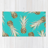 Pineapple Jam Turquoise Rug by Lisa Argyropoulos