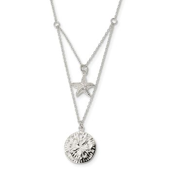 925 Sterling Silver 2-strand Starfish and Sand Dollar 18 inch Necklace 18 Inch